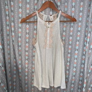 FREE PEOPLE PINK & WHITE LACE TANK TOPS